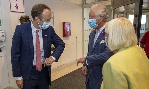 Awkward moment Prince Charles snubs Matt Hancock's elbow bump