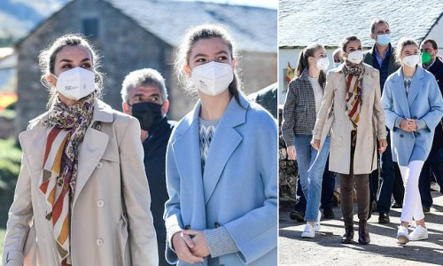 Queen Letizia is joined by her daughters for day out in Spain