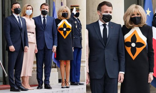 Brigitte Macron dons an eye-catching custom frock from Louis Vuitton