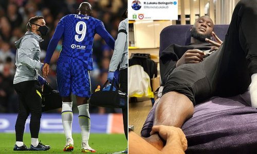 Lukaku posts injury update as he receives treatment for twisted ankle