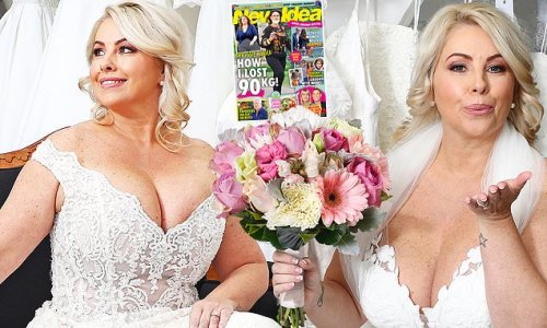 Melissa Bell tries on wedding dresses before marrying Grant Thompson