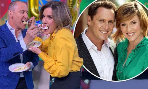 Larry Emdur and Morning Show co-star Kylie Gillies celebrate 14 years