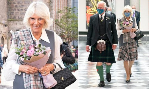 Prince Charles and the Duchess of Cornwall wear tartan in Aberdeen