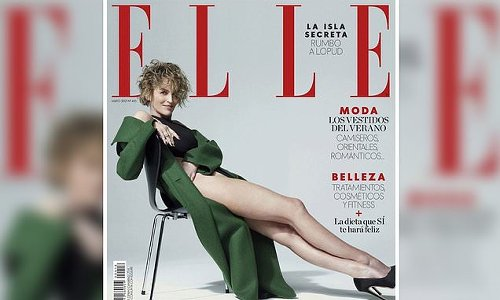 Sharon Stone, 63, shows off her toned legs for Elle Spain