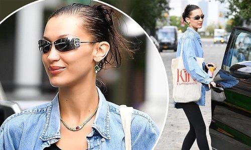 Bella Hadid is a denim darling in NYC as she drinks her Kin Euphorics