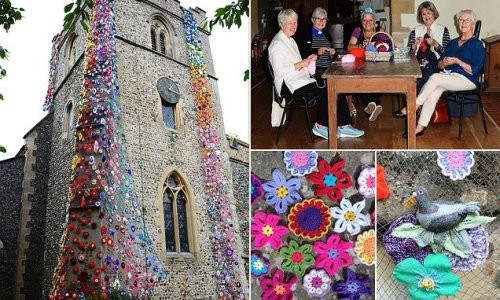Churchgoers knit 'flower tower' with 1,400 stunning DIY blooms