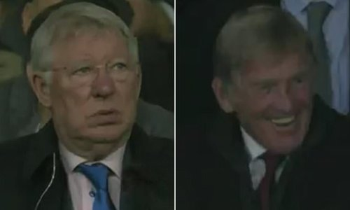 Alex Ferguson shakes his head but Kenny Dalglish cannot stop laughing