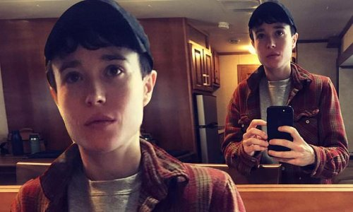 Elliot Page shares a mirror selfie on set of Umbrella Academy