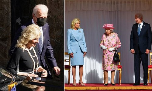 Jill and Joe coordinate while Queen is pretty in pink for tea