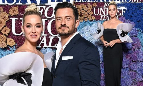 Katy Perry looks elegant in black gown with dramatic ruffle sleeves