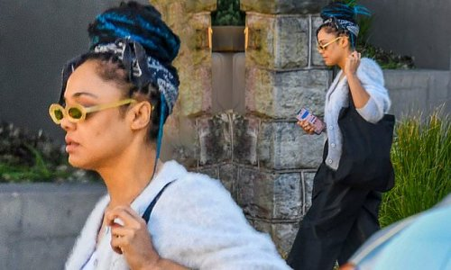 Tessa Thompson emerges from her Sydney home after kissing Zac Stenmark