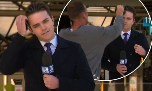 Channel Nine reporter 'cops a face full of bird poo' during live TV