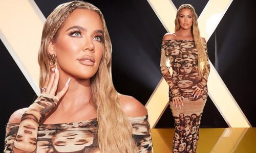 Khloe Kardashian rocks a skintight dress to Shein's 2021 fashion show