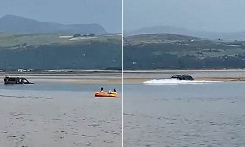 Motorist caught out by tide on Welsh beach after parking on sandbank
