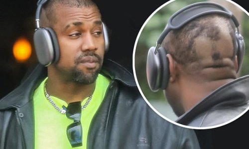 Kanye West takes off prosthetic disguise to reveal bizarre buzz cut