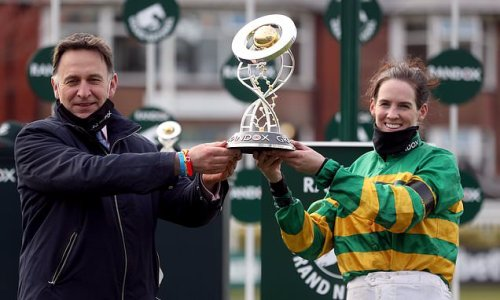 Trainer Henry de Bromhead celebrates Grand National one-two