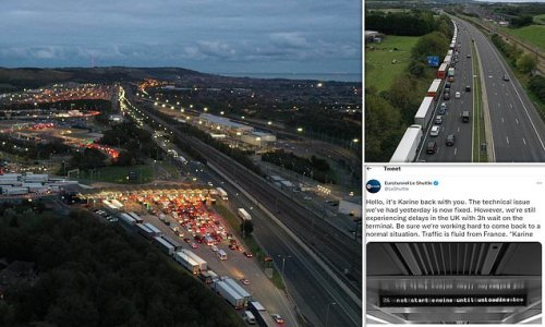 Holidaymakers still face three hour wait at Channel Tunnel terminal