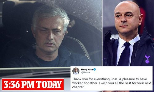 Mourinho pictured leaving Tottenham's training base for the last time