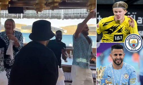 Erling Haaland parties with Manchester City midfielder Riyad Mahrez