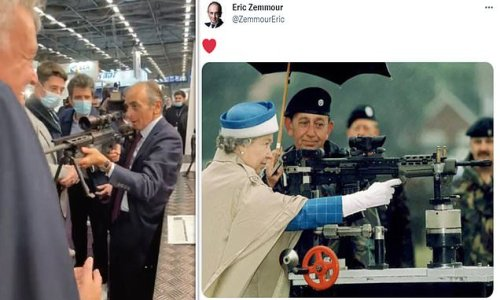 Eric Zemmour posts picture of the Queen holding a rifle