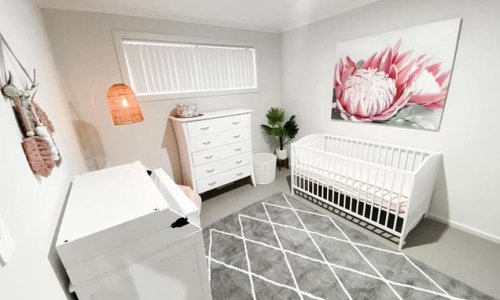 Can you spot the dangerous detail in this baby's nursery?