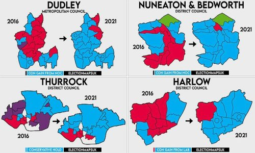 Crushing Labour defeats in early results from local council wards