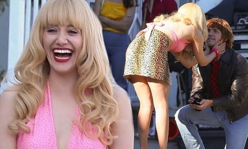 Emmy Rossum laughs during marriage proposal scene for Angelyne series