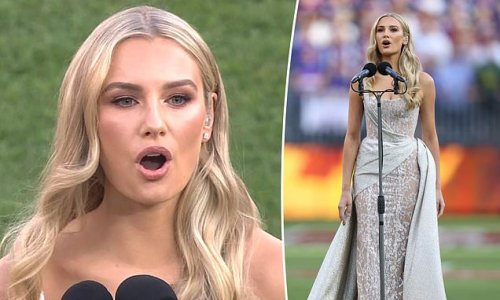 AFL Grand Final viewers swoon over glamorous opera singer Amy Manford