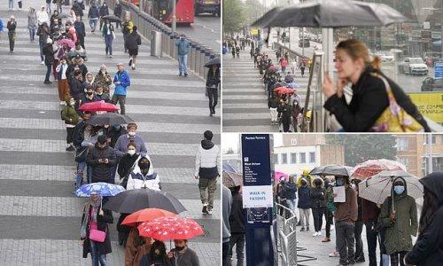 Huge queues form outside Tottenham Hotspur's stadium in London