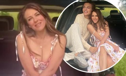 Elizabeth Hurley poses up a storm in a plunging floral sundress