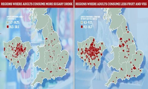 Map shows where more sugary drinks are consumed by adults in England