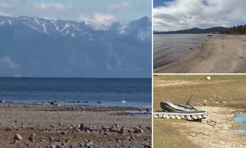 Severe drought sends Lake Tahoe water levels below natural rim