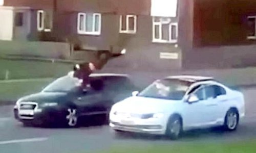 Car sends pedestrian somersaulting into the air when it hits him