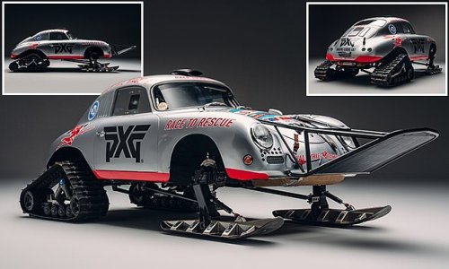 1956 Porsche 356A turned into a snowmobile for a race across a glacier