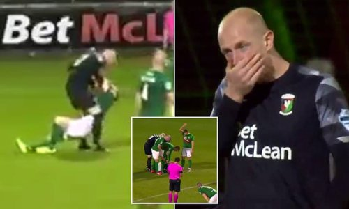 Glentoran goalkeeper is sent off for lashing out at his OWN team-mate