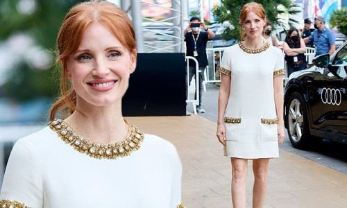 Jessica Chastain is a vision in white and gold in Spain