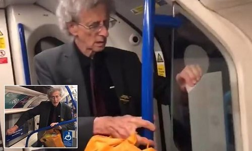 Piers Corbyn, 74, peels social distancing stickers off the Tube