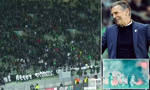 Saint-Etienne fans throw flare as they call for Claude Puel to resign