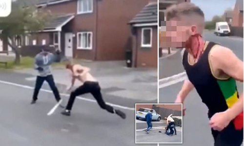 Horrific moment two bloodied men attack each other with machetes
