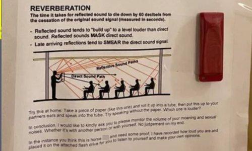 Resident fed up of neighbors having loud sex leaves note on door