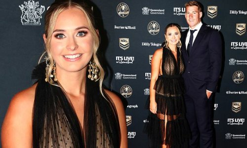 Matt Burton's girlfriend dons sheer organza gown at Dally M Awards