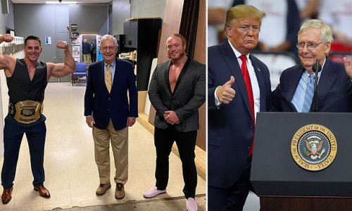 Mitch McConnell poses with wrestlers after Trump calls him 'gutless'