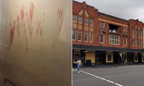 Wall at popular Sydney pub smeared with bloodied handprints