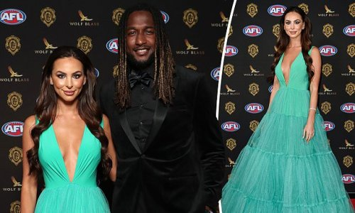 Brittany Bown in bright green tulle gown at Brownlow Medal 2021