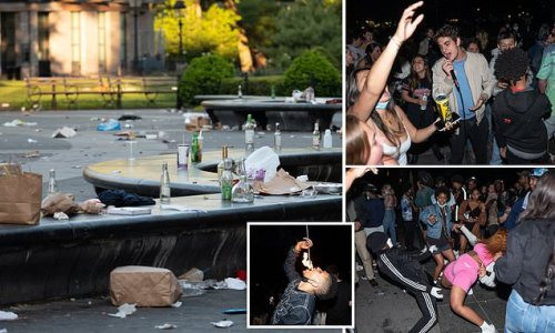 New York's Washington Square Park resembles a garbage dump after party