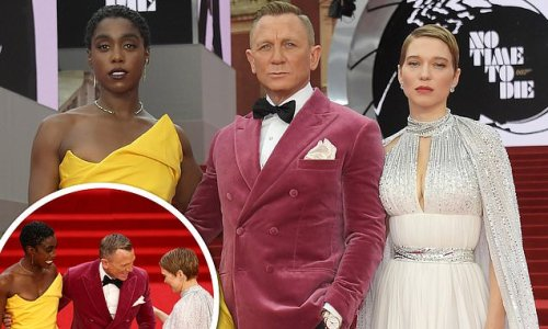 Daniel Craig joins Lashana Lynch and Lea Seydoux at Bond premiere