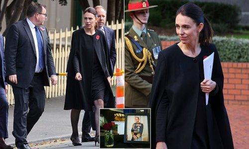 NZ's Jacinda Ardern arrives at Memorial Service for Prince Philip