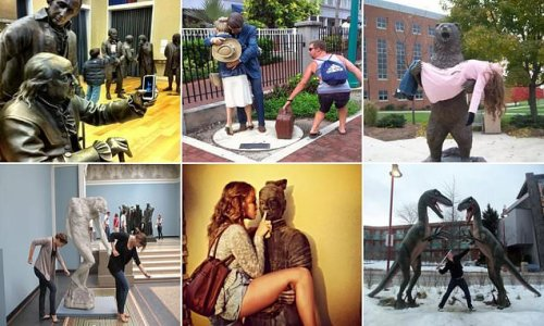 Tourists create VERY amusing scenes by posing with statues