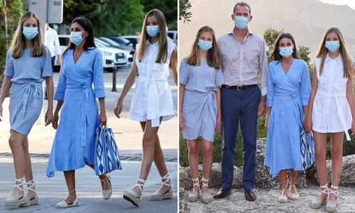 Letizia joins her husband and daughters for a family outing in Escora