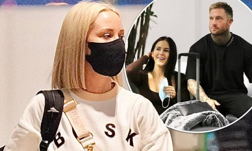 Jessika Power leaves Brisbane airport with brother and sister in law
